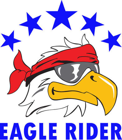 Make a great bald eagle for a bikers project. Illustration