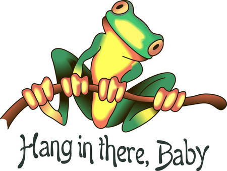 This adorable frog just makes you smile.  Brighten someones day with this design from Great Notions. Ilustração