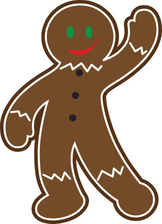 Gingerbread men are a Christmas treat. 向量圖像