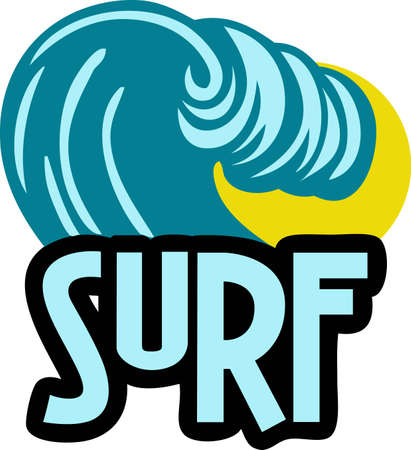 surfistas: Surfers will like this great wave on a t-shirt. Vectores