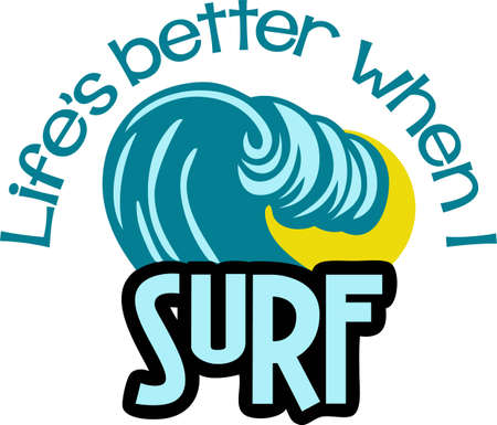 Surfers will like this great wave on a t-shirt. Иллюстрация