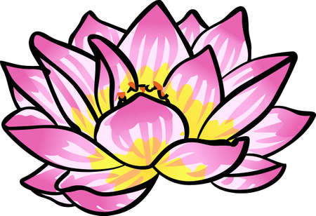 lily pad: Accent yoga workout gear with a beautiful lotus blossom. Illustration