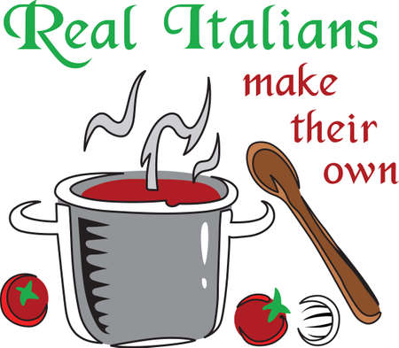 italian kitchen: Decorate your kitchen towels with an Italian theme. Illustration