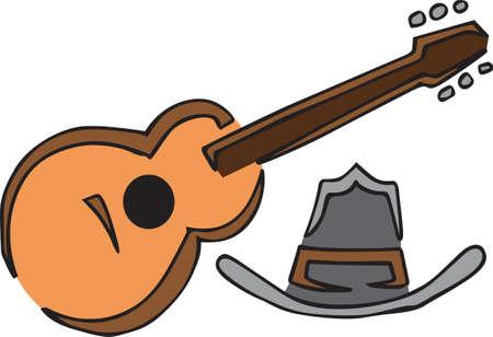国の音楽は、アコースティック ギターに良いです。  イラスト・ベクター素材