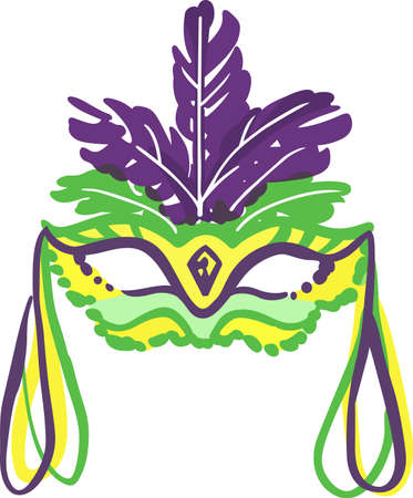 carnival costume: Celebrate Mardi Gras with a colorful mask. Illustration