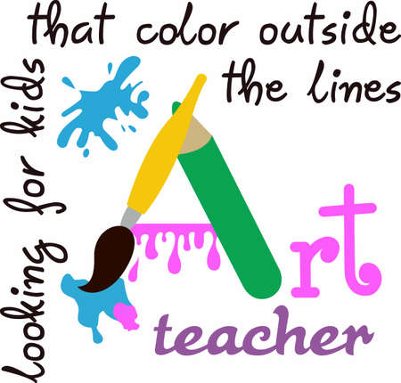An art teacher looks for kids that color outside the lines.  A perfect gift to thank an art teacher for inspiring them. Illusztráció