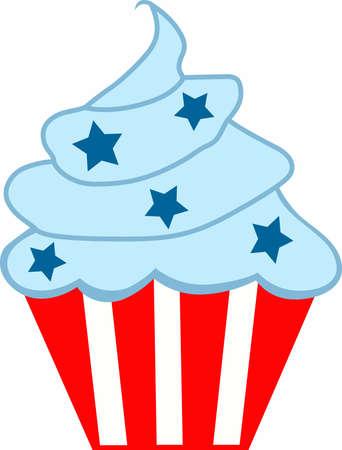 dar un regalo: ¿Necesita una manera única de decir Feliz Día de la Independencia Dar un regalo de esta magdalena adorable con las barras y estrellas de diseño. Vectores