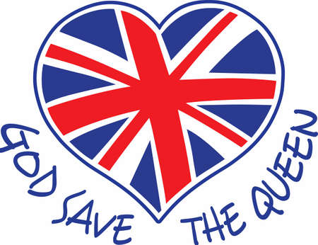 union jack flag: A cute design featuring the union jack flag heart.  The perfect reminder of where youve been.