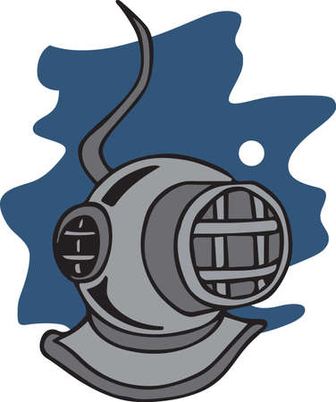 deep sea diver: Divers can show off their love for the sport with a diving helmet. Illustration