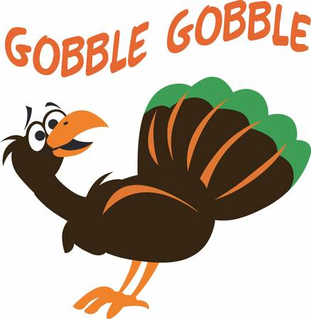 gobbler: Turkey is a symbol of thanksgiving.This festive design is perfect on gifts, table runners, kitchen linens, home decor and on all things Thanksgiving! Illustration