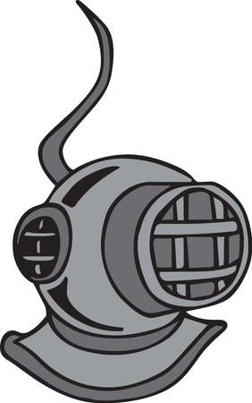 Divers can show off their love for the sport with a diving helmet. Ilustracja