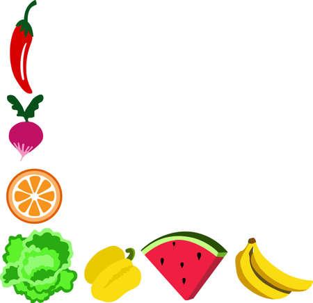 comer sano: Comer saludable con frutas y verduras en su cocina. Vectores