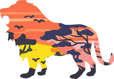 lion silhouette: A lion silhouette with an African scene will look great on a nature lovers project.