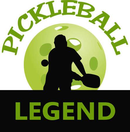 Als je iemand kent die graag pickelball speelt, zullen ze genieten van dit ontwerp. Stock Illustratie