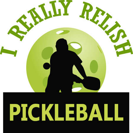 If you know someone who likes to play pickelball they will enjoy this design. Illustration