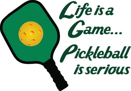 If you know someone who likes to play pickelball they will enjoy this design. Stock Illustratie