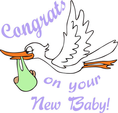 A cute stork is a classic new baby dcor.