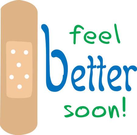 Send a get well wish with a bandage Illusztráció