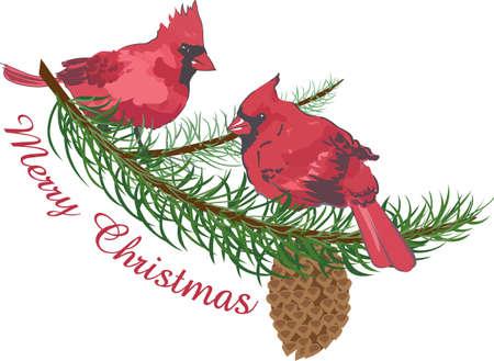 Kleurrijke kardinalen maak een mooie vakantie design.