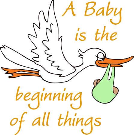 Une cigogne mignonne est un classique nouveau bébé dcor. Banque d'images - 45353041