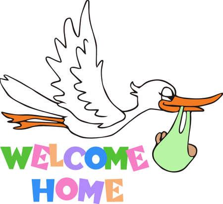 Ein netter Storch ist ein klassisches neues Baby Dekor. Standard-Bild - 45353043