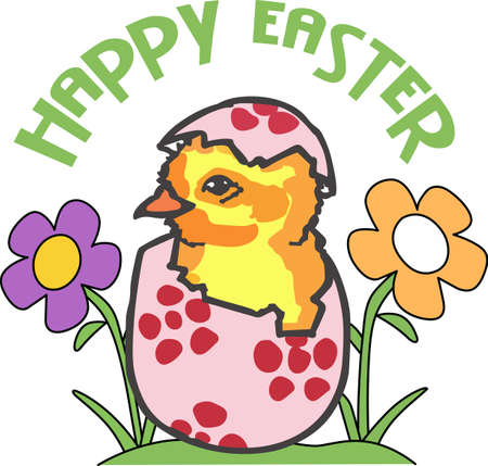 dcor: A cute hatching chick is a classic Easter dcor. Illustration