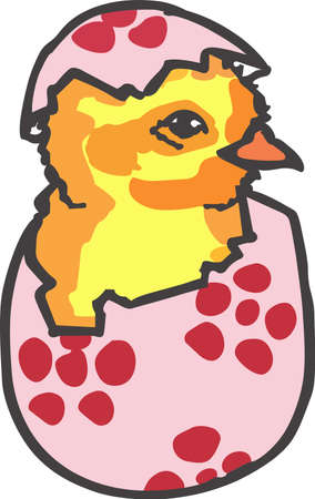 egg plant: A cute hatching chick is a classic Easter dcor. Illustration