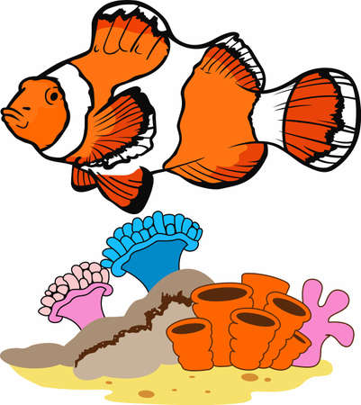 marine scene: Clownfish make my day brighter.  Another cute design from Great Notions. Illustration