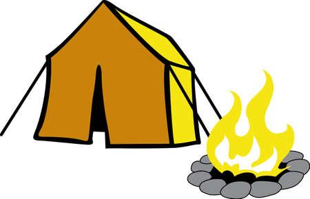 Een leuke kampeerscène is leuk in de buitenlucht.