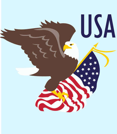 eagle flag: Be patriotic with an American eagle flag. Illustration