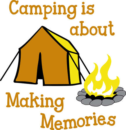 A nice camping scene is fun in the outdoors.