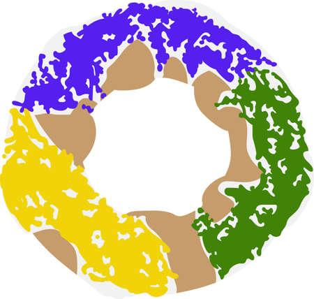 Vier Mardi Gras met een kleurrijke koning taart. Stock Illustratie