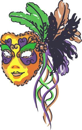 Celebrate Mardi Gras with a colorful mask. Ilustração