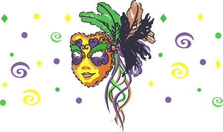 mardi gras: Celebrate Mardi Gras with a colorful mask. Illustration