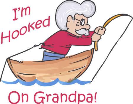 funny: Fishermen will love this funny fishing design. Illustration