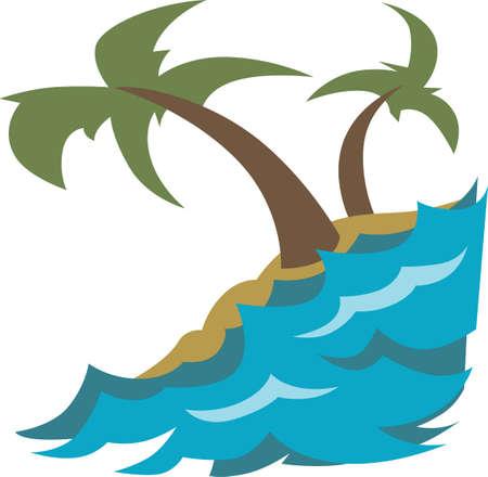 embellish: Embellish a beach towel or bag with a wonderful island scene.