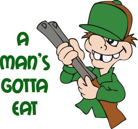 amusing: A mans got to eat, so hes got to go hunting in the woods.  A cute cartoon design from Great Notions!