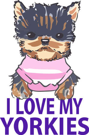 pure bred: This adorable little yorkie will make a great design for a dog lover.