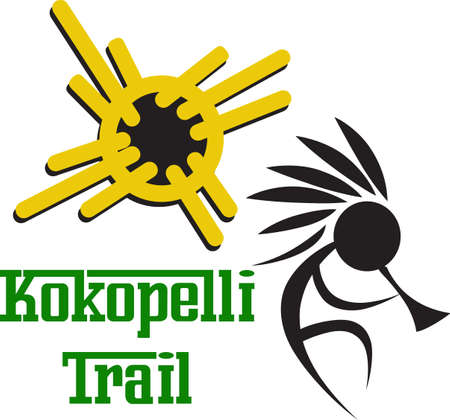 A kokopelli design is great on a native American project. Иллюстрация
