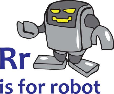 I bambini si divertiranno un robot fresco su un sacchetto di libro. Archivio Fotografico - 45447365