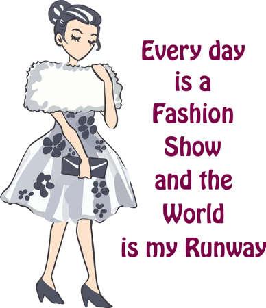 robo: Muestra tu amor de la moda con una señora elegante. Vectores