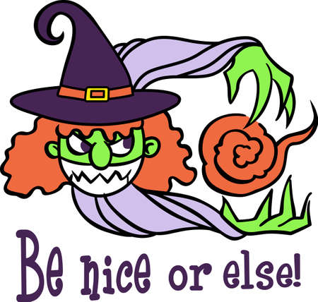 crone: Decorate for Halloween with a cute witch.