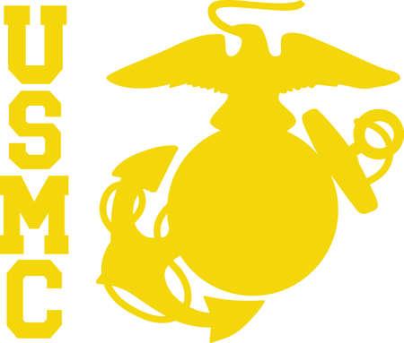 Een marine zal van dit logo op een pet of shirt. Stock Illustratie