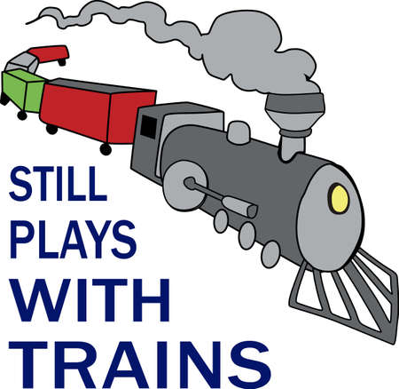 in loved: Trains are loved by men of all ages. Illustration