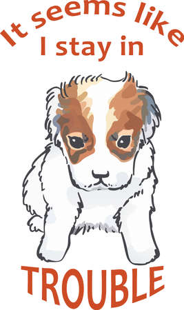 russell: Make this cute puppy for a dog lover. Illustration