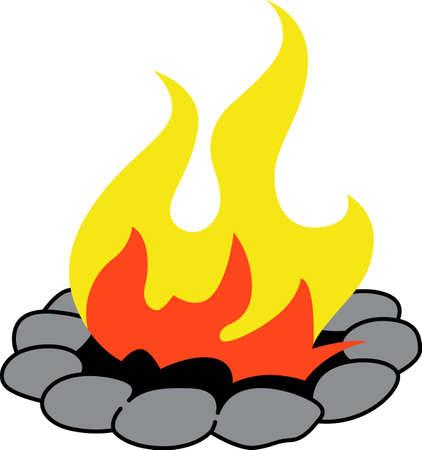 Un progetto campeggio ha bisogno di un buon fuoco da campo. Archivio Fotografico - 45449382