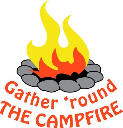 Un progetto campeggio ha bisogno di un buon fuoco da campo. Archivio Fotografico - 45449394