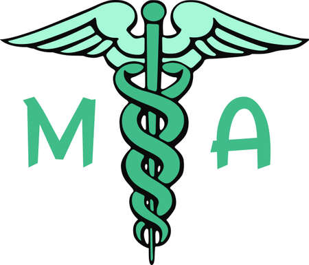 asclepius: Medical professionals will like displaying the symbol of their profession. Illustration