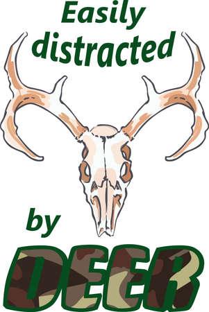 Hunters kan een grote trofee met deze herten schedel weer te geven. Stock Illustratie