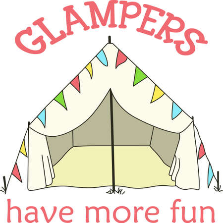 streamers: Show off your love for camping in style with this tent. Illustration
